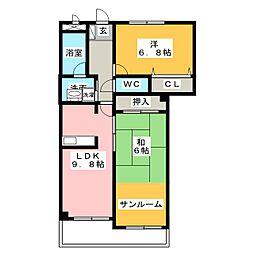 愛知県日進市赤池5丁目の賃貸マンションの間取り