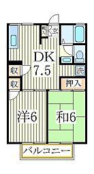千葉県流山市加2の賃貸アパートの間取り