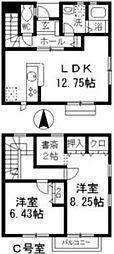 愛知県名古屋市千種区光が丘2丁目の賃貸アパートの間取り