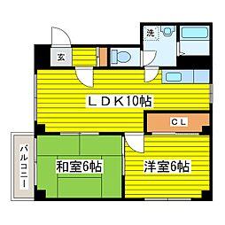 札幌市営東豊線 環状通東駅 3.2kmの賃貸マンション 2階2LDKの間取り