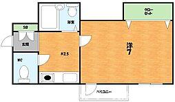 大阪府枚方市長尾元町2丁目の賃貸マンションの間取り