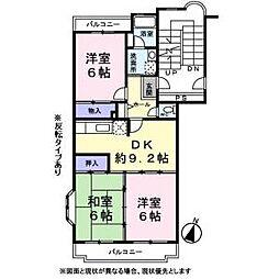 シャルムI帝塚山[202号室]の間取り