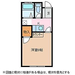 長野県松本市野溝西2丁目の賃貸アパートの間取り