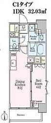 東京メトロ南北線 白金高輪駅 徒歩5分の賃貸マンション 7階1DKの間取り
