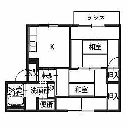 大阪府堺市南区鴨谷台1丁の賃貸アパートの間取り