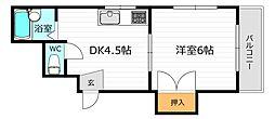 JR片町線(学研都市線) 鴫野駅 徒歩7分の賃貸マンション 1階1DKの間取り