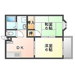JR赤穂線 西川原駅 徒歩8分の賃貸アパート 1階2DKの間取り