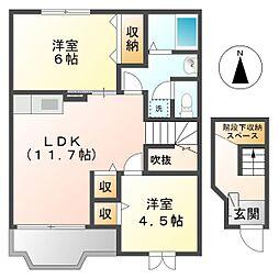 岡山県倉敷市連島中央2の賃貸アパートの間取り