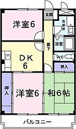神奈川県海老名市東柏ケ谷3丁目の賃貸マンションの間取り