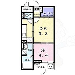 JR東海道・山陽本線 摂津本山駅 徒歩9分の賃貸マンション 1階1DKの間取り