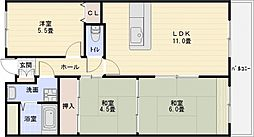 ルキア国分[4階]の間取り