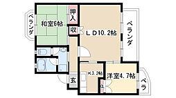 愛知県名古屋市緑区鳴海町字上汐田の賃貸マンションの間取り