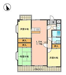 愛知県日進市岩崎台3丁目の賃貸マンションの間取り
