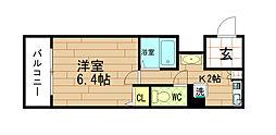 グランソレイユ福島[3階]の間取り
