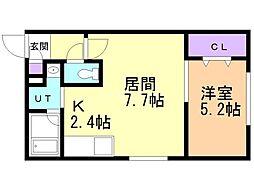 プルミエ栄通19 4階1LDKの間取り
