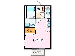 JR紀勢本線 相可駅 徒歩2分の賃貸アパート 2階ワンルームの間取り