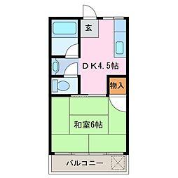 三重県鈴鹿市矢橋3丁目の賃貸アパートの間取り