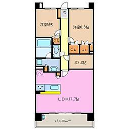 ローレルコートライオンズ四日市富田[15階]の間取り