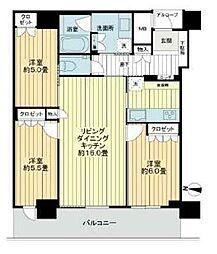大阪ひびきの街ザ・サンクタスタワー 45階3LDKの間取り