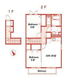 リナウル鵠沼II[2階]の間取り