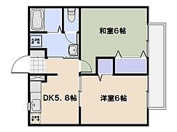 エルセトル佐方[2階]の間取り