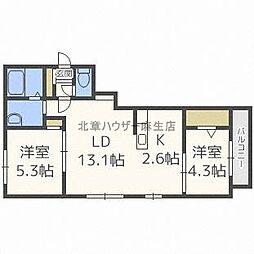 北海道札幌市北区北三十六条西6丁目の賃貸マンションの間取り