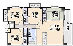 広島県広島市安佐南区西原4丁目の賃貸マンションの間取り