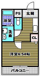 南海高野線 滝谷駅 徒歩12分の賃貸アパート 2階1Kの間取り
