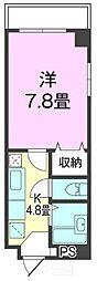 コンフォート松川 3階1Kの間取り