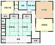 間取りは4DKの平屋になります。北西側の和室とDK横の和室を洋室へ間取り変更しました。