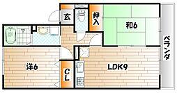 ディアコート西田 B棟[2階]の間取り