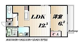 JR山陽本線 西明石駅 徒歩26分の賃貸アパート 2階1LDKの間取り