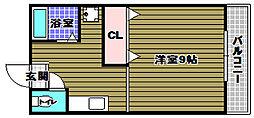 ペドラーム帝塚 2階1Kの間取り