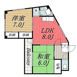 千葉県千葉市中央区港町の賃貸マンションの間取り