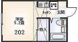 稲城ハイツ[202号室]の間取り