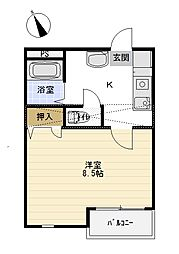 TAKEYARIハイツII[203号室]の間取り