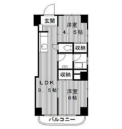 東京都練馬区羽沢の賃貸マンションの間取り