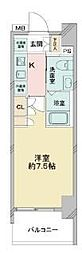 京成押上線 青砥駅 徒歩13分の賃貸マンション 12階1Kの間取り