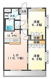 岡山県岡山市南区米倉の賃貸マンションの間取り