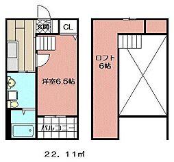 レオーネ西小倉[203号室]の間取り