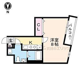 京福電気鉄道北野線 北野白梅町駅 徒歩22分の賃貸マンション 3階1Kの間取り