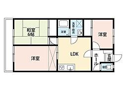 福岡県北九州市小倉南区下曽根2丁目の賃貸アパートの間取り