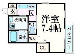阪神本線 西宮駅 徒歩3分の賃貸マンション 2階1Kの間取り