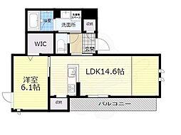 大阪モノレール本線 千里中央駅 徒歩10分の賃貸アパート 3階1LDKの間取り
