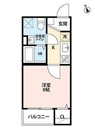 愛知県名古屋市北区稚児宮通1丁目の賃貸アパートの間取り