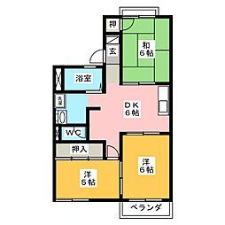 ファミール西前田 B棟[2階]の間取り