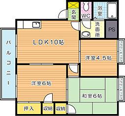福岡県北九州市小倉南区安部山の賃貸アパートの間取り