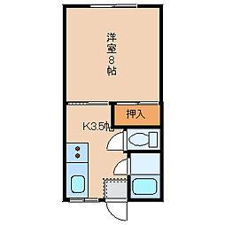 T・Kアパートメント窪[1-B号室]の間取り