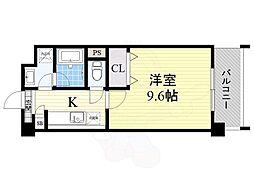 エトワール 4階ワンルームの間取り