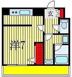JR総武線 下総中山駅 徒歩7分の賃貸マンション 5階1Kの間取り